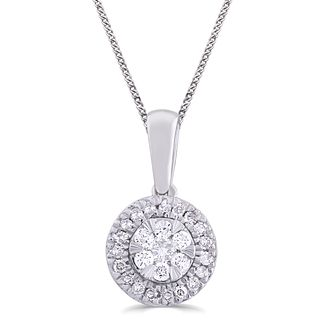 9ct White Gold & 1/10ct Round Diamond Pendant - Product number 5033004