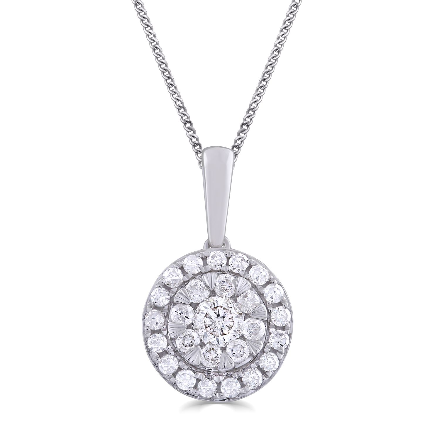 9ct White Gold 0.33ct Total Diamond Pendant - Product number 5033055
