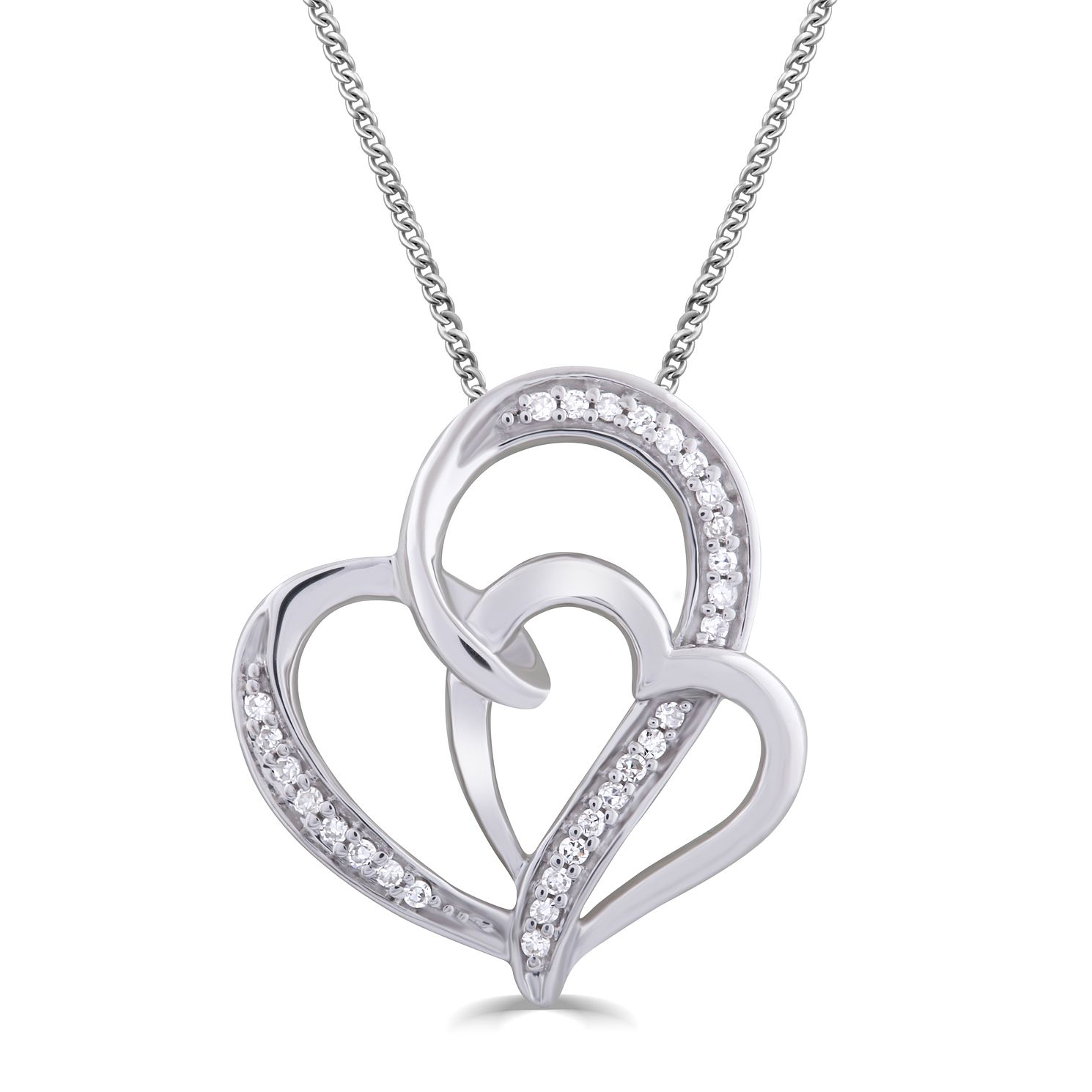 Silver & Diamond Double Heart Entwined Pendant - Product number 5033187