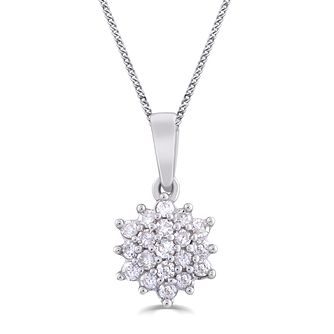 9ct White Gold & 0.15ct Diamond Flower Pendant - Product number 5033306