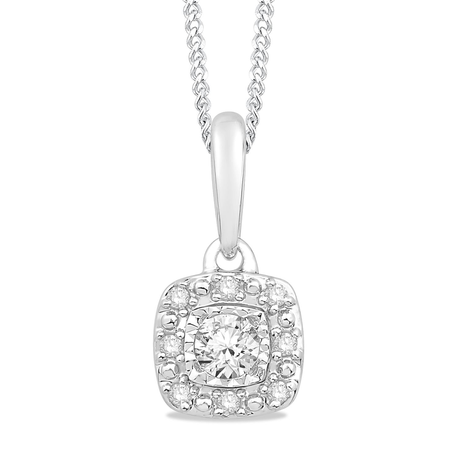 9ct White Gold 1/10ct Diamond Illusion Halo Pendant - Product number 5033519