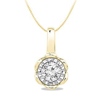 9ct Yellow Gold 0.10ct Diamond Illusion Flower Pendant - Product number 5033535