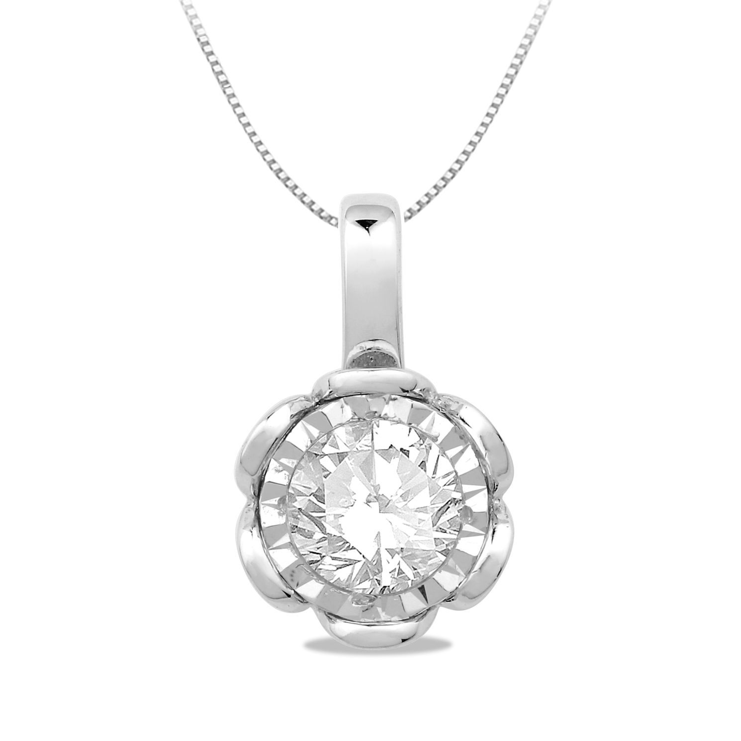 9ct White Gold & 1/5ct Diamond Illusion Pendant - Product number 5033543