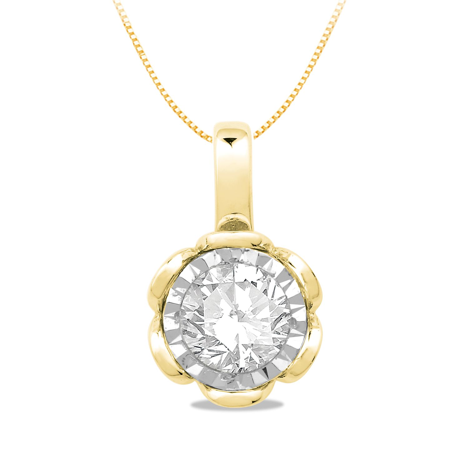9ct Yellow Gold 0.20ct Diamond Illusion Flower Pendant - Product number 5033551