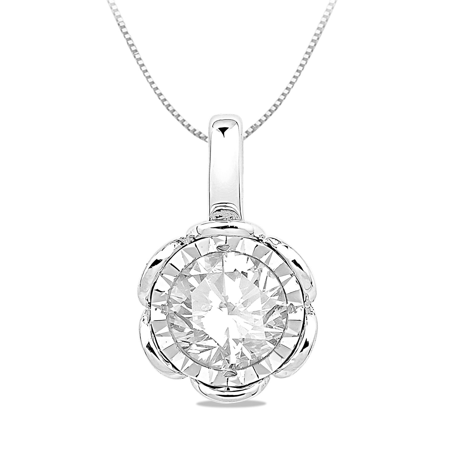 9ct White Gold 0.30ct Diamond Illusion Flower Pendant - Product number 5033578