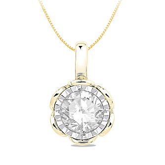9ct Yellow Gold 0.30ct Diamond Illusion Flower Pendant - Product number 5033586