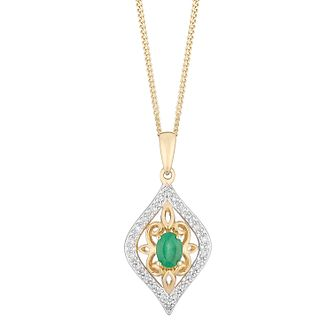 9ct Yellow Gold Emerald & Diamond Art Deco Pendant - Product number 5033594