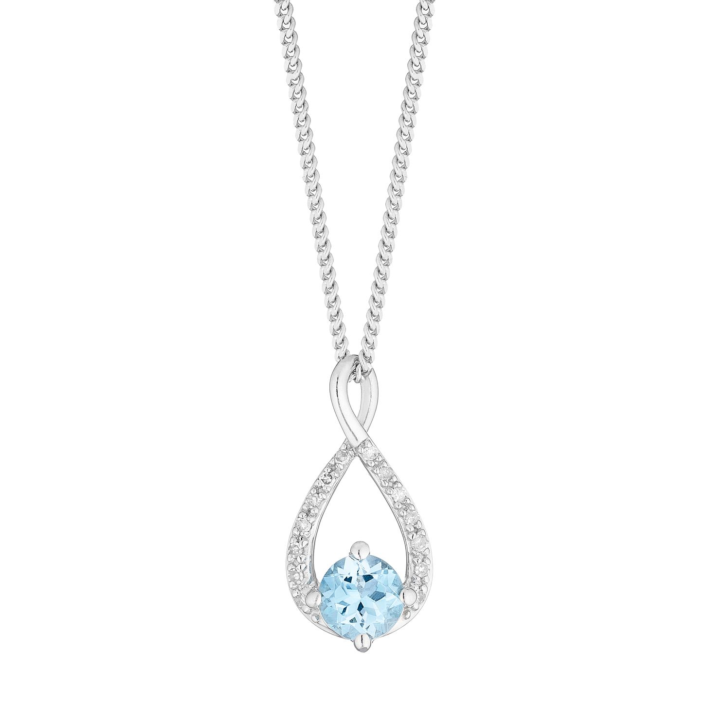 Sterling Silver & Blue Topaz Diamond Infinity Pendant - Product number 5033608