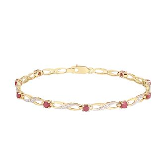 9ct Yellow Gold & Ruby Twist Loop Bracelet - Product number 5033640