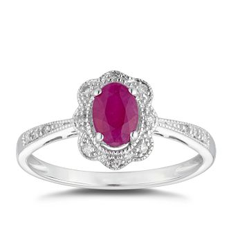 9ct White Gold Ruby & Diamond Halo Ring - Product number 5034604