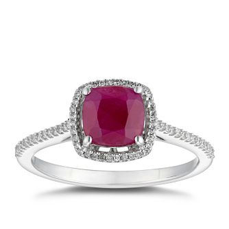 9ct White Gold Ruby & 0.12ct Diamond Cushion-set Ring - Product number 5034833