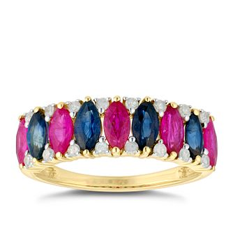 9ct Yellow Gold Ruby Sapphire & 0.16ct Diamond Eternity Ring - Product number 5035074