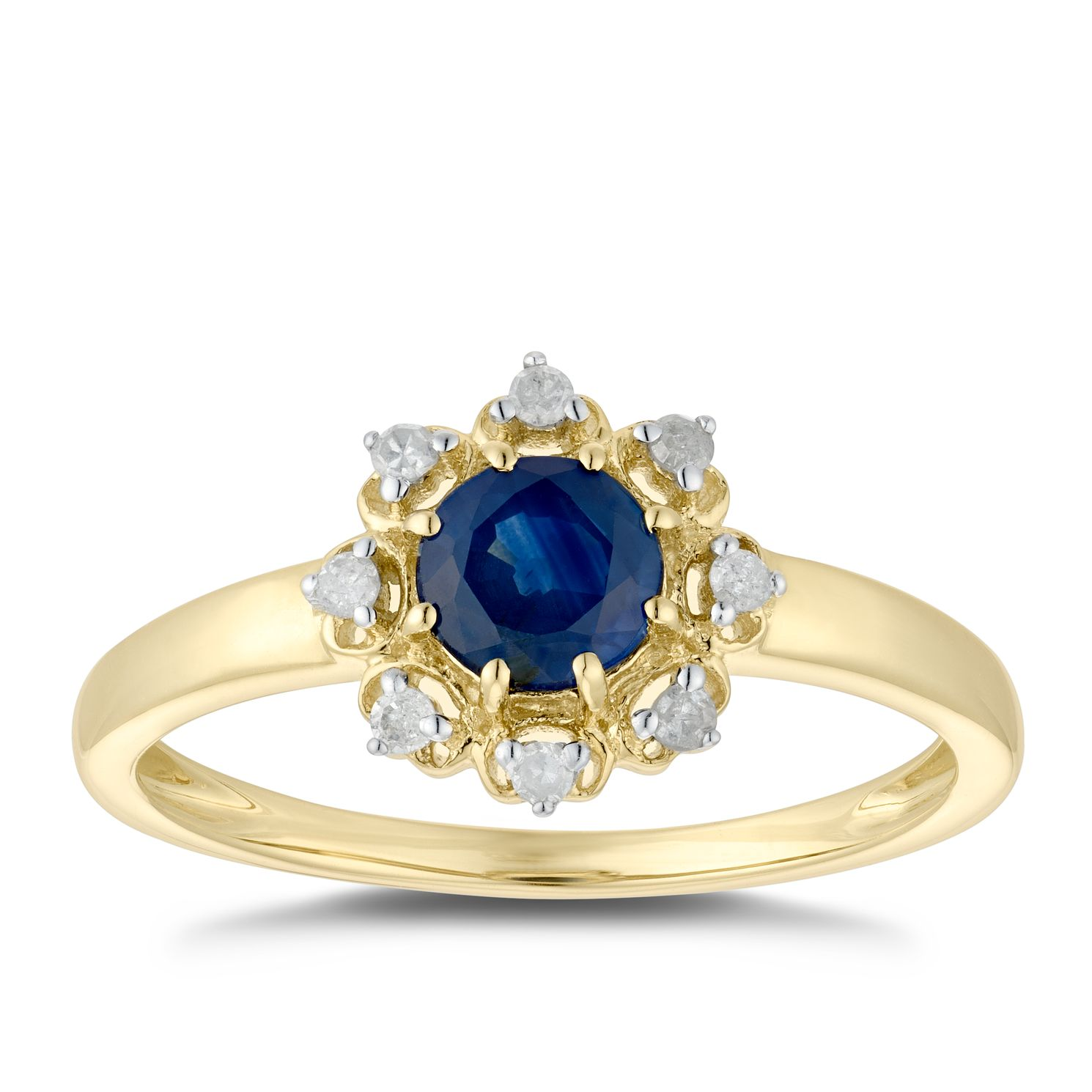 9ct Yellow Gold Sapphire & Diamond Ring - Product number 5035295
