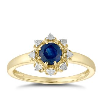 9ct Yellow Gold Sapphire & Diamond Halo-style Ring - Product number 5035295