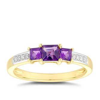 9ct Yellow Gold 3 Stone Amethyst & Diamond Ring - Product number 5035686
