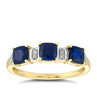 9ct Yellow Gold 3 Stone Sapphire & Diamond Eternity Ring - Product number 5036003