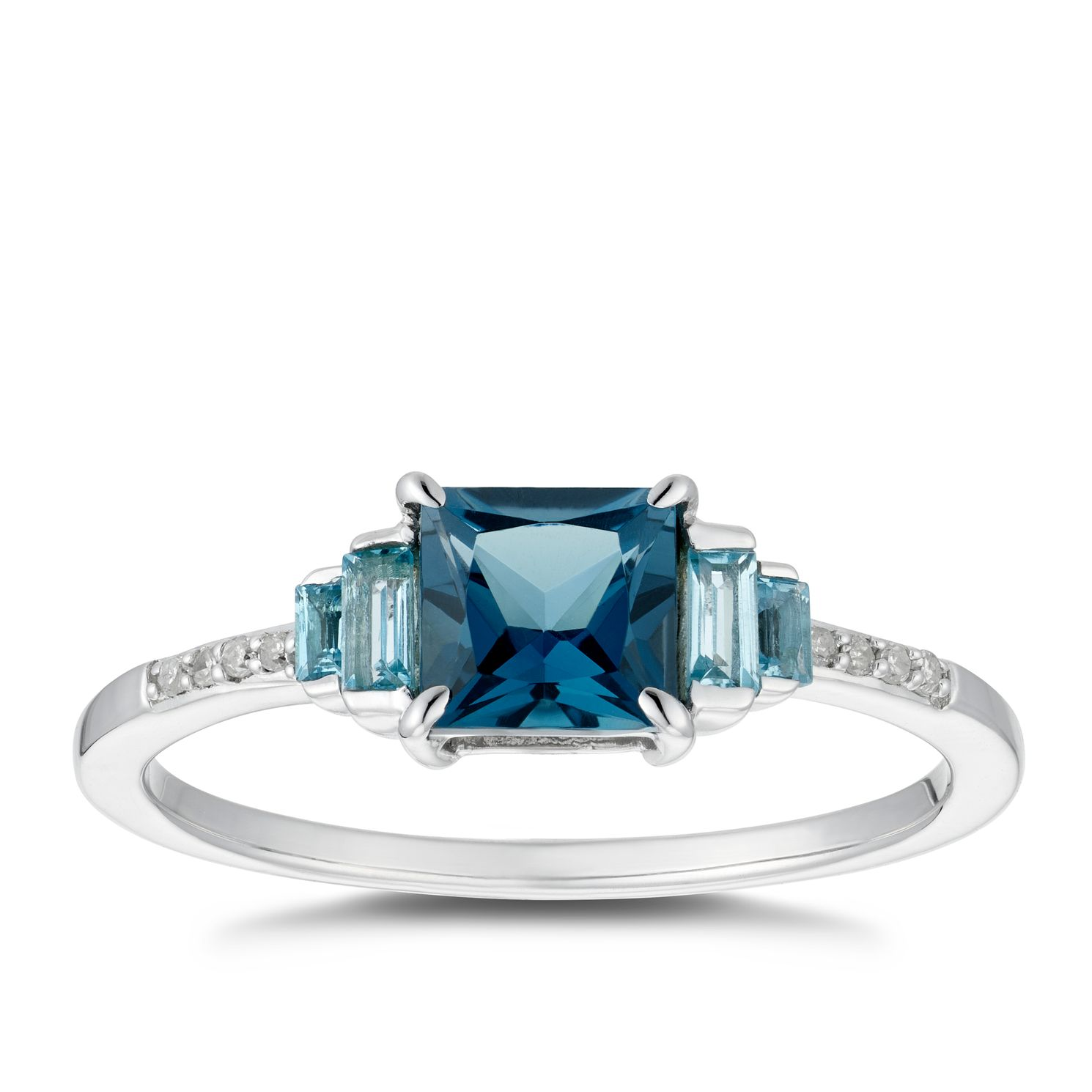 9ct White Gold Blue Topaz & Diamond Ring - Product number 5036216