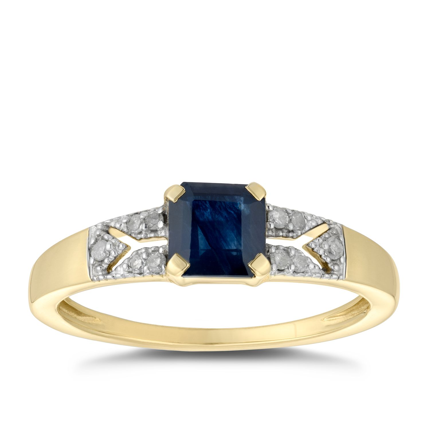 9ct Yellow Gold Square Sapphire & Diamond Ring - Product number 5036364