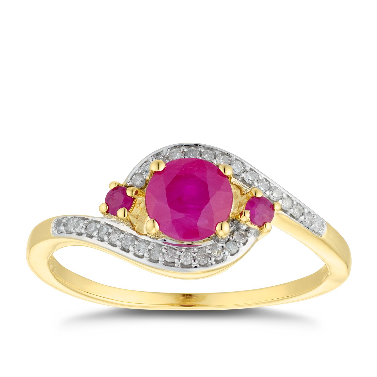 9ct Yellow Gold Ruby & 0.11ct Diamond Swirl Ring - Product number 5036860