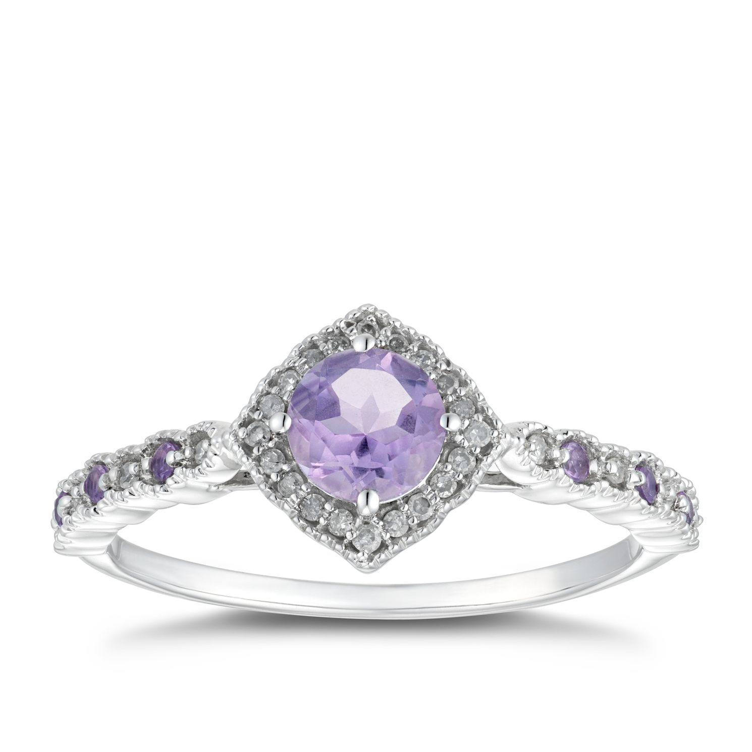 9ct White Gold Purple Amethyst & Diamond Halo Ring - Product number 5037409
