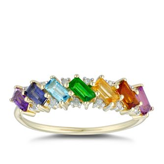 9ct Yellow Gold Multi Gemstone & Diamond Eternity Ring - Product number 5038057
