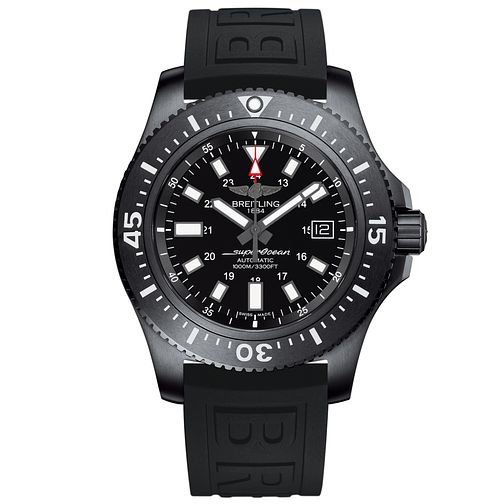 Breitling Superocean 44 Men's Black Rubber Strap Watch - Product number 5039185