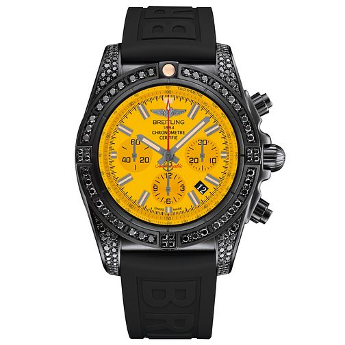 Breitling Chronomat 44 Men's Stone Set Black Strap Watch - Product number 5039207