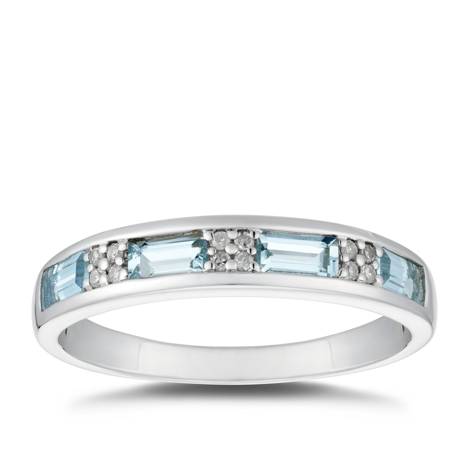 Silver Aquamarine & Diamond Eternity Ring - Product number 5040140