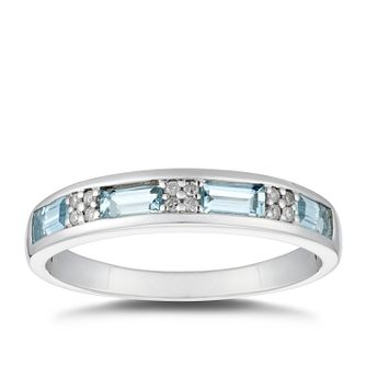 Sterling Silver Aquamarine & Diamond Eternity Ring - Product number 5040140
