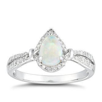 9ct White Gold Opal & 0.14ct Diamond Pear Halo Ring - Product number 5040418