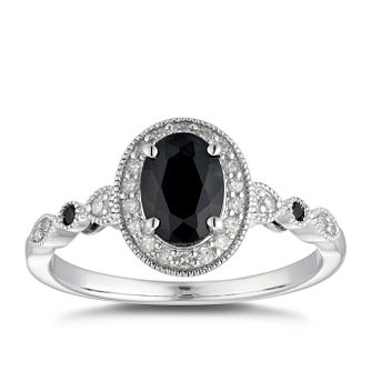 9ct White Gold Black Sapphire & 0.12ct Diamond Halo Ring - Product number 5040671