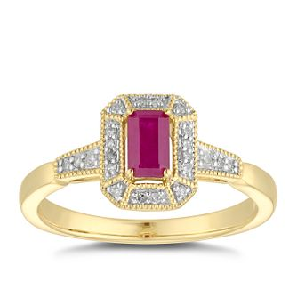 9ct Yellow Gold Rectangular Ruby & Diamond Ring - Product number 5040949