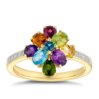 9ct Yellow Gold Multicolour Gemstone & Diamond Ring - Product number 5041392