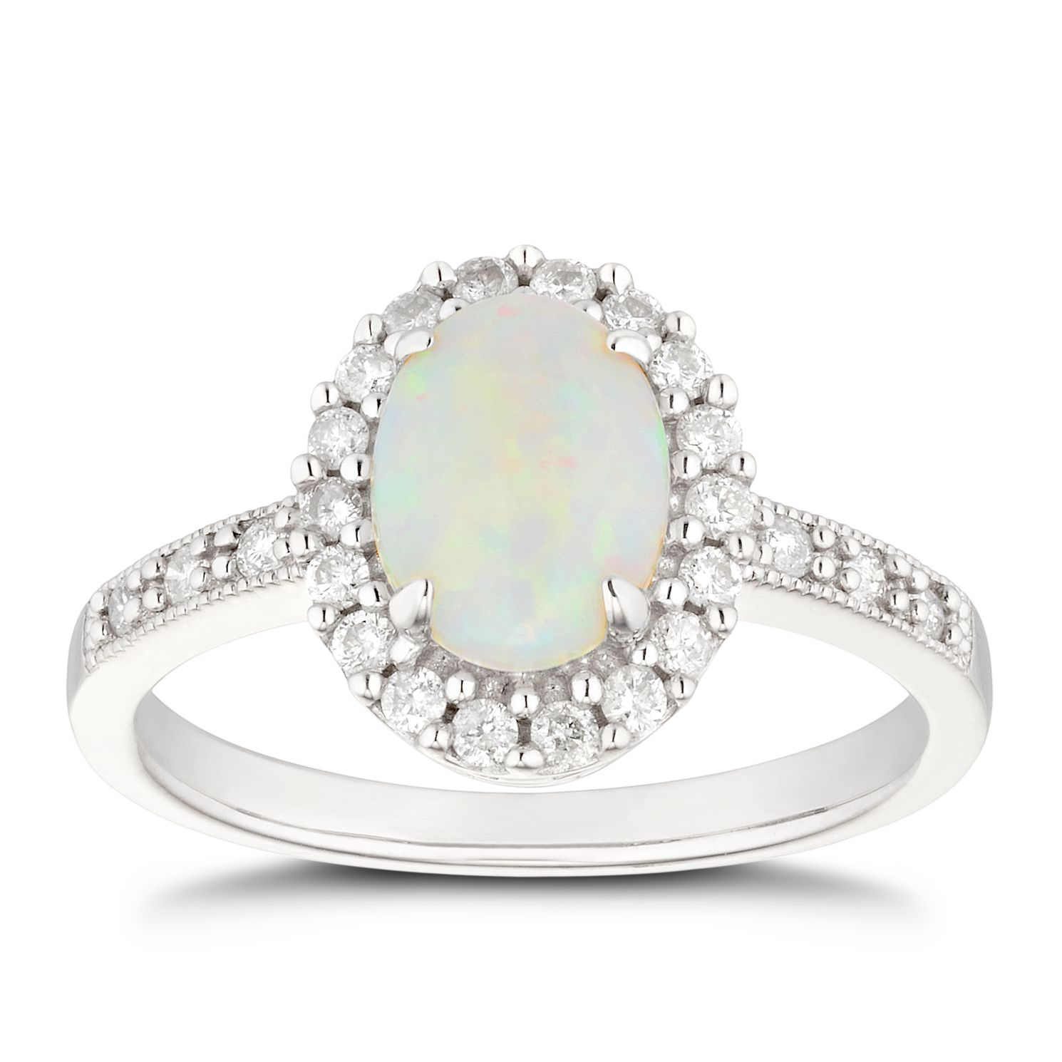9ct White Gold Opal 0.25ct Diamond Halo Ring - Product number 5041635
