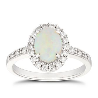 9ct White Gold Opal & 1/4ct Diamond Halo Ring - Product number 5041635