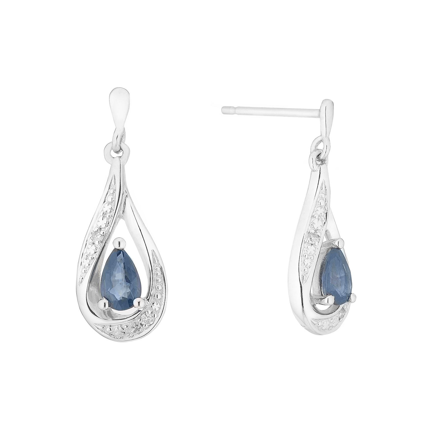 9ct White Gold Sapphire & Diamond Teardrop Earrings - Product number 5044073