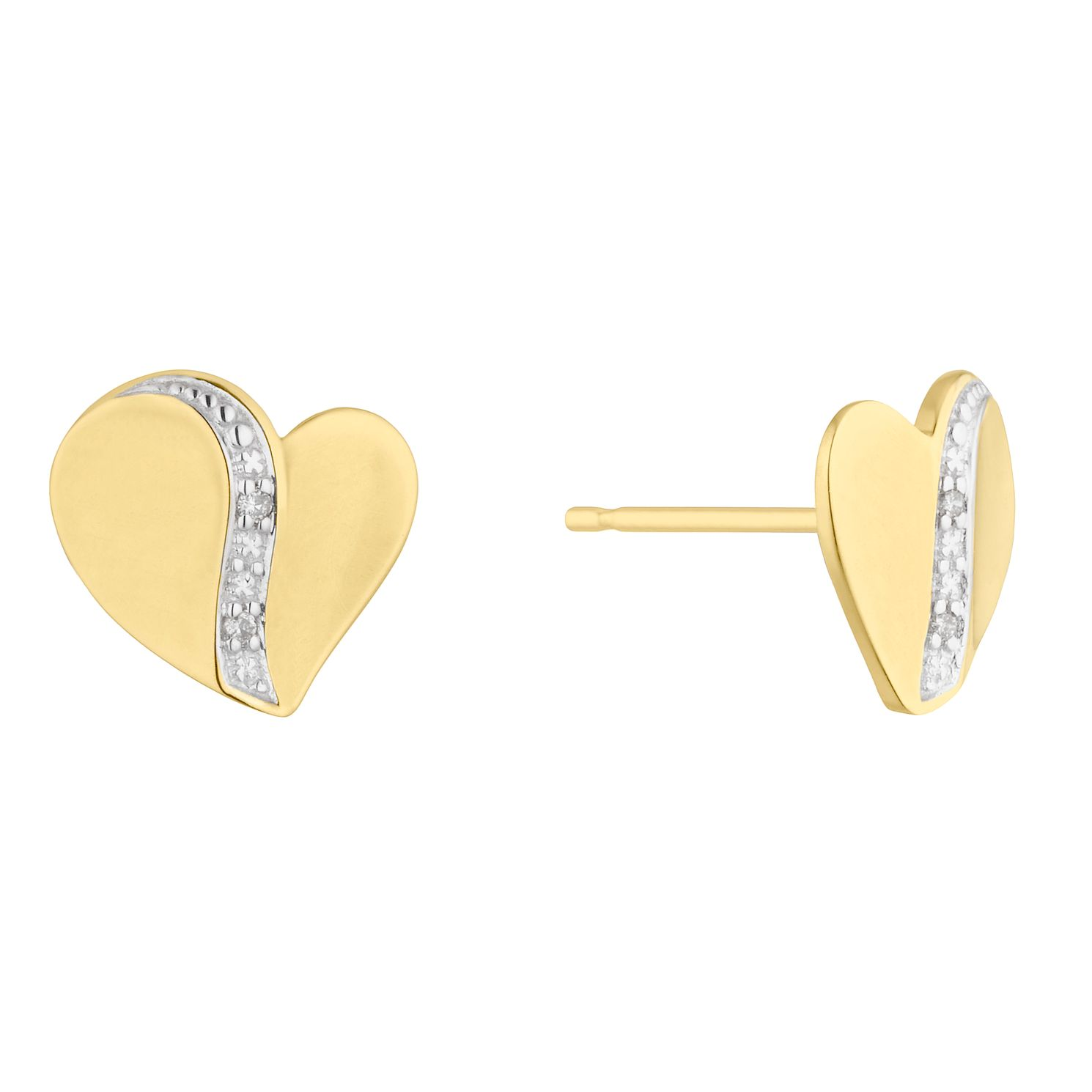 9ct Yellow Gold and Diamond Heart Stud Earrings - Product number 5044081