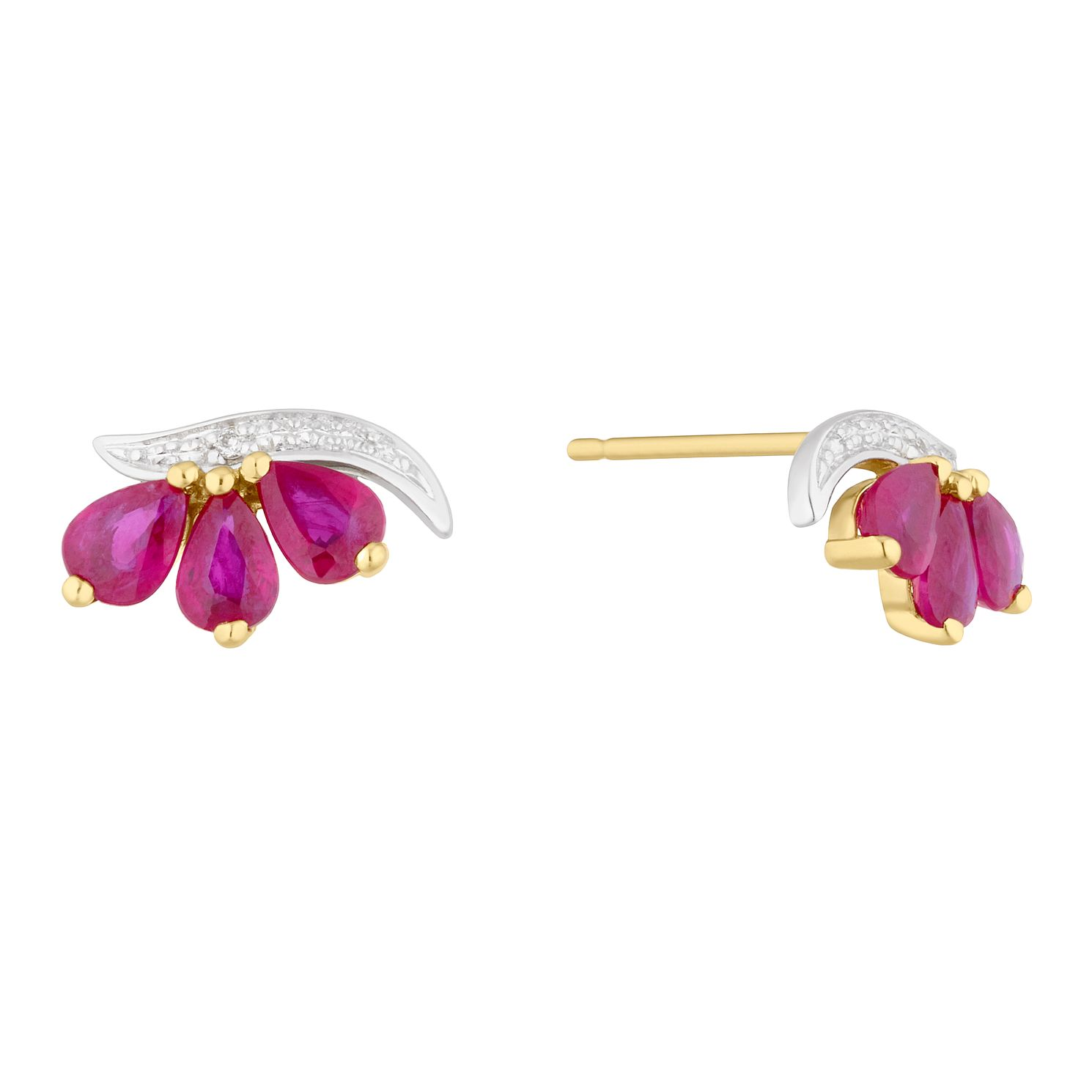 9ct Yellow Gold Ruby & Diamond 3 Stone Stud Earrings - Product number 5044111