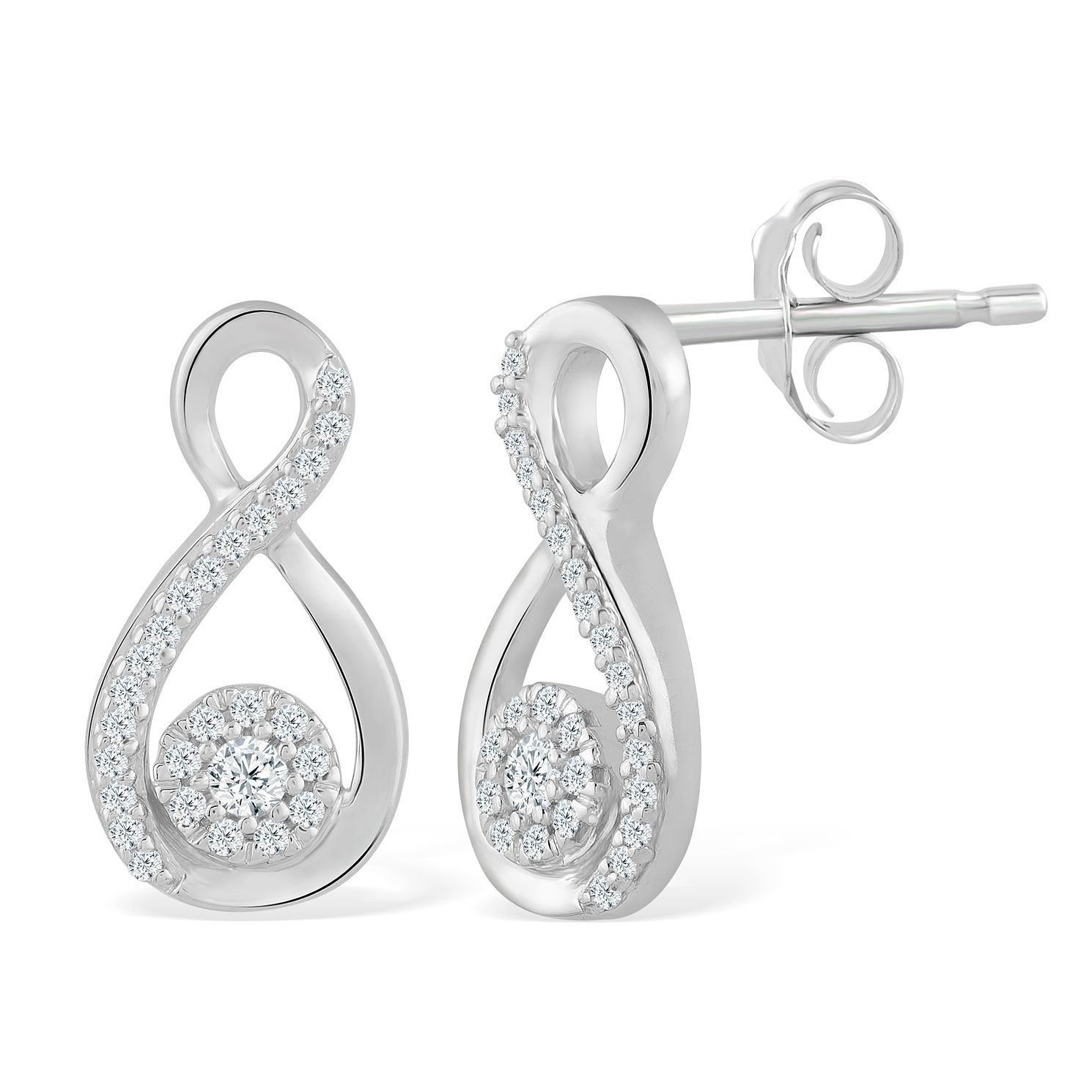 9ct White Gold 1/10ct Diamond Infinity Stud Earrings - Product number 5044138