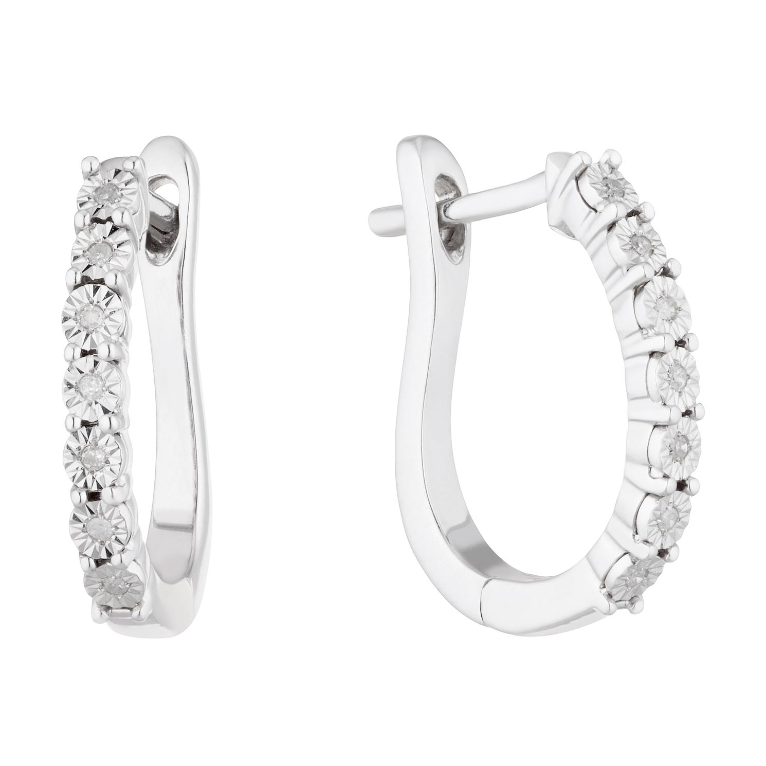 Sterling Silver Diamond Illusion Hoop Earrings - Product number 5044170
