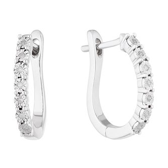 Silver Ladies' Diamond Illusion Round Hoop Earrings - Product number 5044170