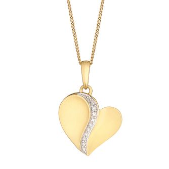 9ct Yellow Gold 0.01ct Diamond April Heart Pendant - Product number 5044235