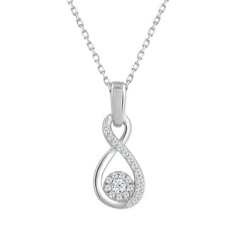 9ct White Gold & 0.10ct Diamond Infinity Pendant - Product number 5044243