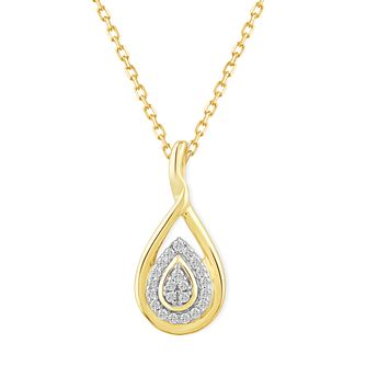9ct Yellow Gold & 0.10ct Diamond Pear-shaped Pendant - Product number 5044286