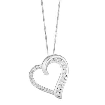 9ct White Gold 0.25ct Diamond Heart Twist Pendant - Product number 5044324