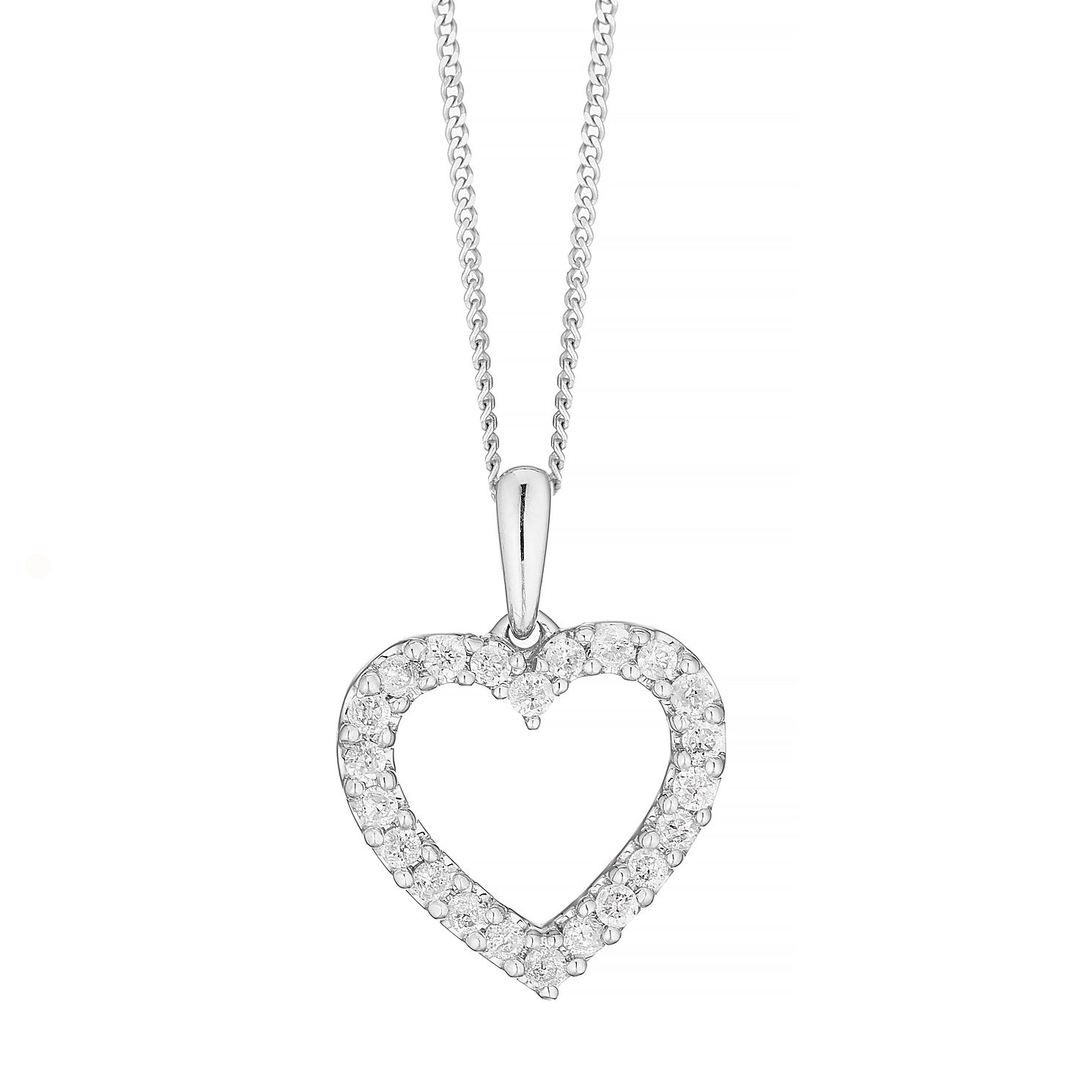 9ct White Gold  1/4 Diamond Open Heart Pendant - Product number 5044383