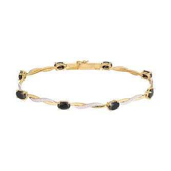 9ct Yellow Gold Sapphire 0.03ct Diamond Twist Bracelet - Product number 5044421
