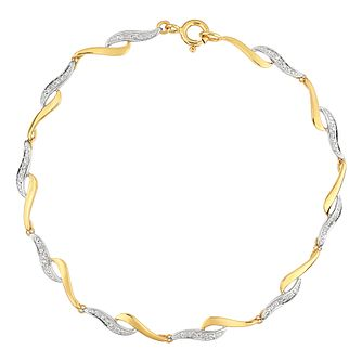 9ct Yellow Gold Diamond Wave Bracelet - Product number 5044456