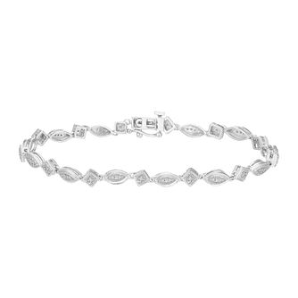 Silver 0.15 ct Diamond Ovals And Squares Vintage Bracelet - Product number 5044588