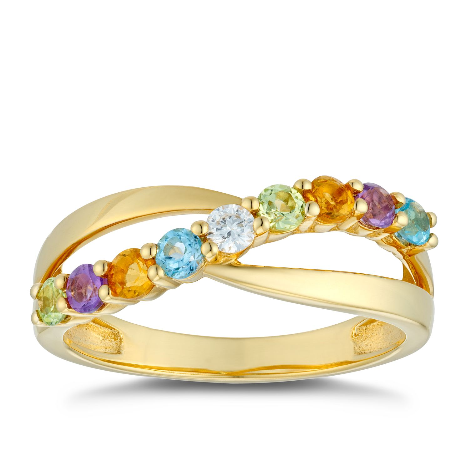 9ct Yellow GoldMulti Gemstone & Diamond Twist Ring - Product number 5044693